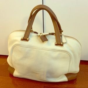Furla leather bag white and tan, new WNT